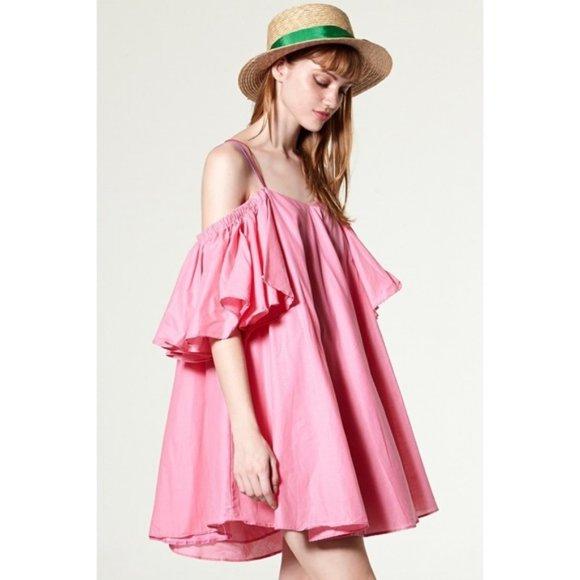 Storets Amanda Pink Cold Shoulder Mini Swing Dress